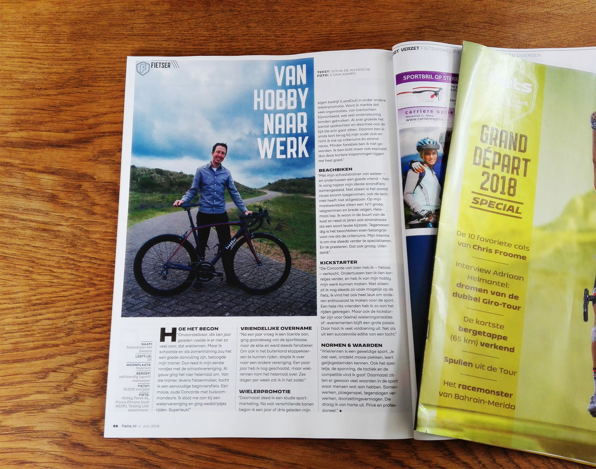 LeadOut staat in Fiets magazine